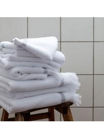 Serviette Blanche rayures grises 30x30 cm - Meraki